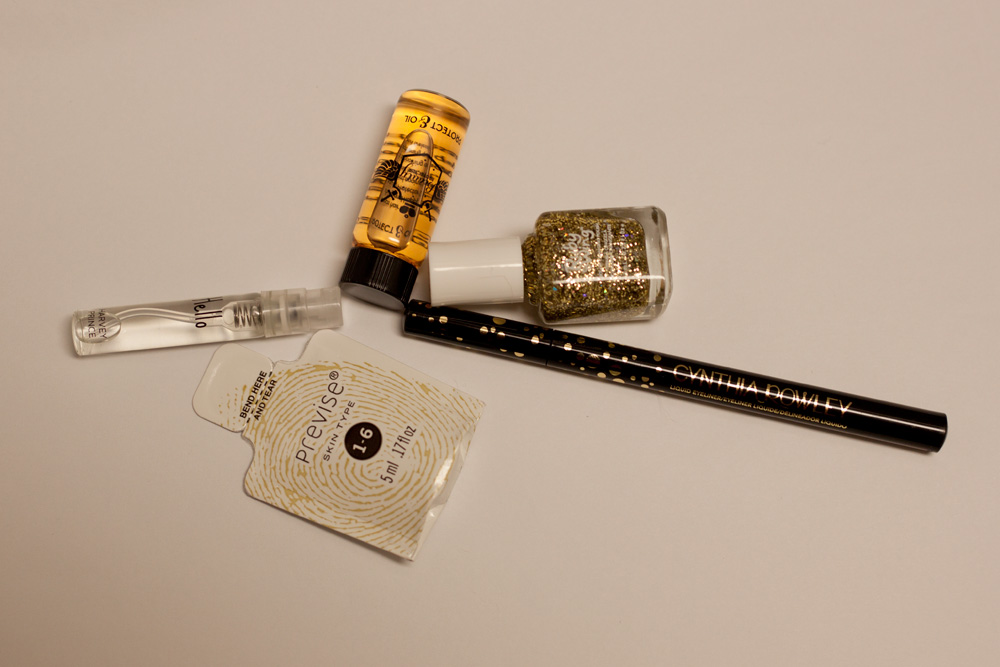 Birchbox February 2014 hair oil nail polish hello perfume liquid eyeliner