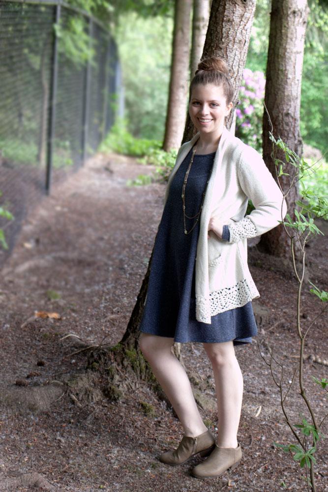 crochet cardigan + swing dress / hello, rigby!