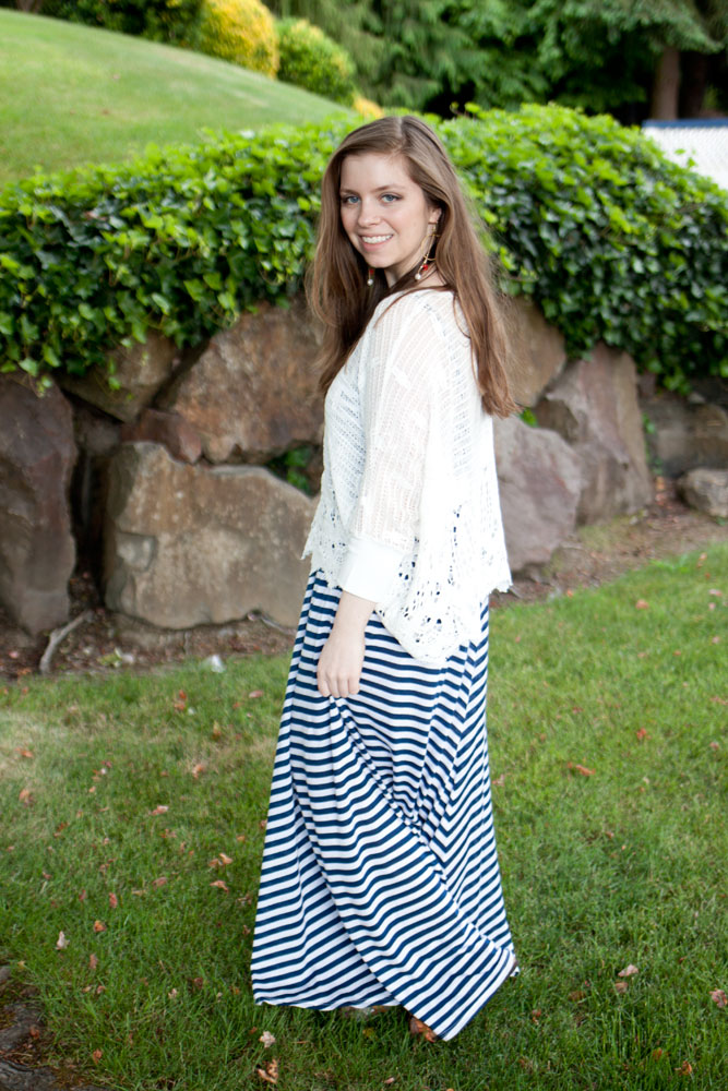 Crochet Coverlet + Navy Stripe Maxi / hellorigby!