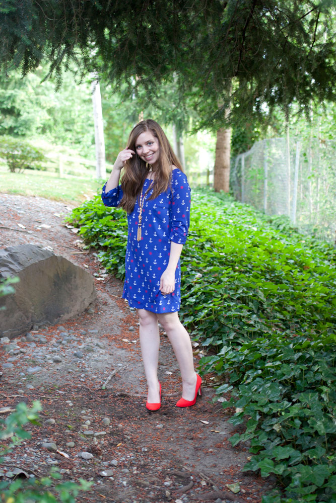 Anchor Dress + Red Pumps / 4th of July Fashion / hellorigby!
