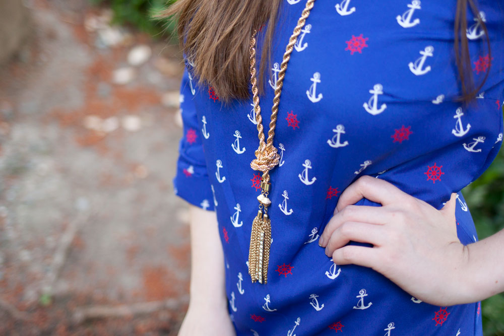 Tassel Necklace + Anchor Print / Fourth of July / hellorigby!