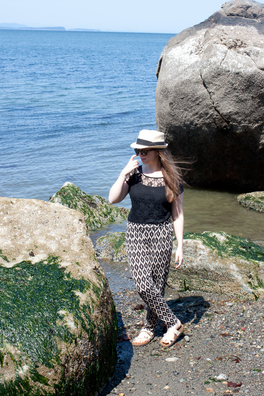 Lace, Track Pant, Fedora / Summer Beach Look / hellorigby!