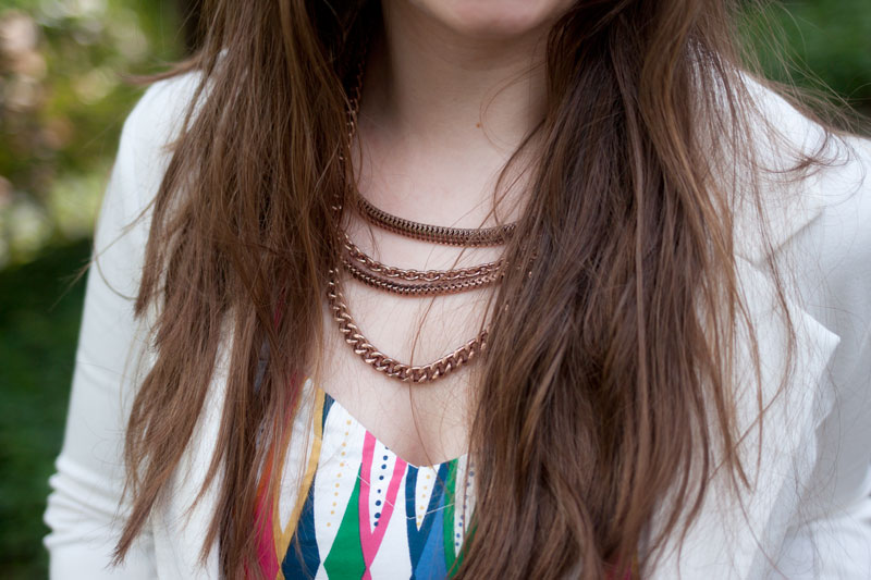 Adia Kibur Rosegold Chain Necklace + White Blazer / eShakti Colorful Tribal / hellorigby!