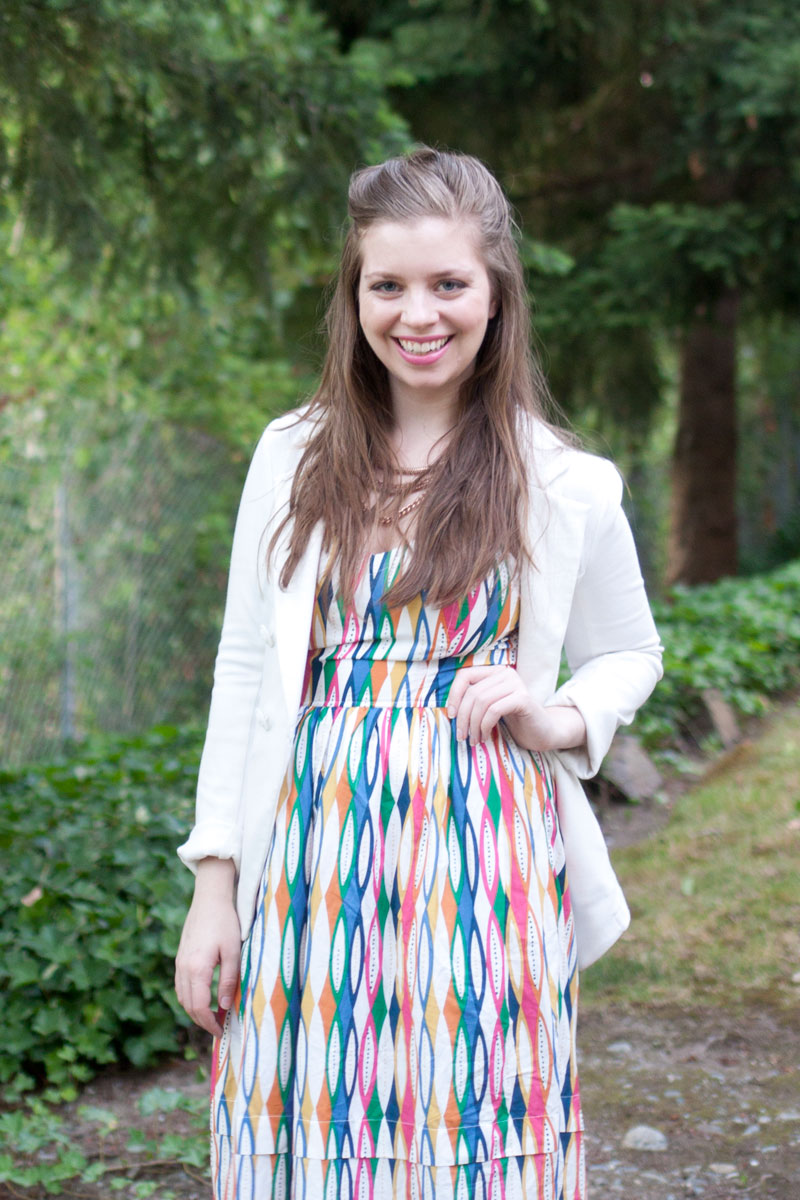 Maxi Dress + White Blazer / eShakti Colorful Tribal / hellorigby!
