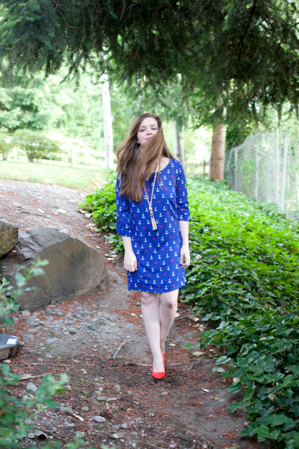 Fashion Blogger Outtakes - Anchor Print Dress / hellorigby!