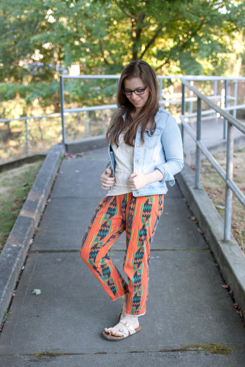 Tribal Print Pant, Jean Jacket with Seattle Goodwill / hellorigby!