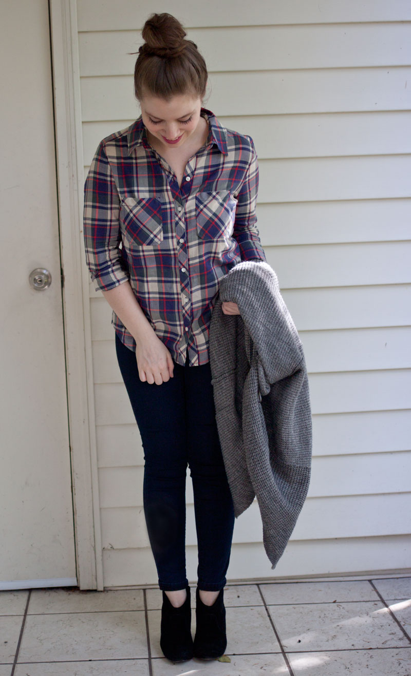 Plaid Button Up, Skinny Jeans, and Booties Outfit / hellorigby!