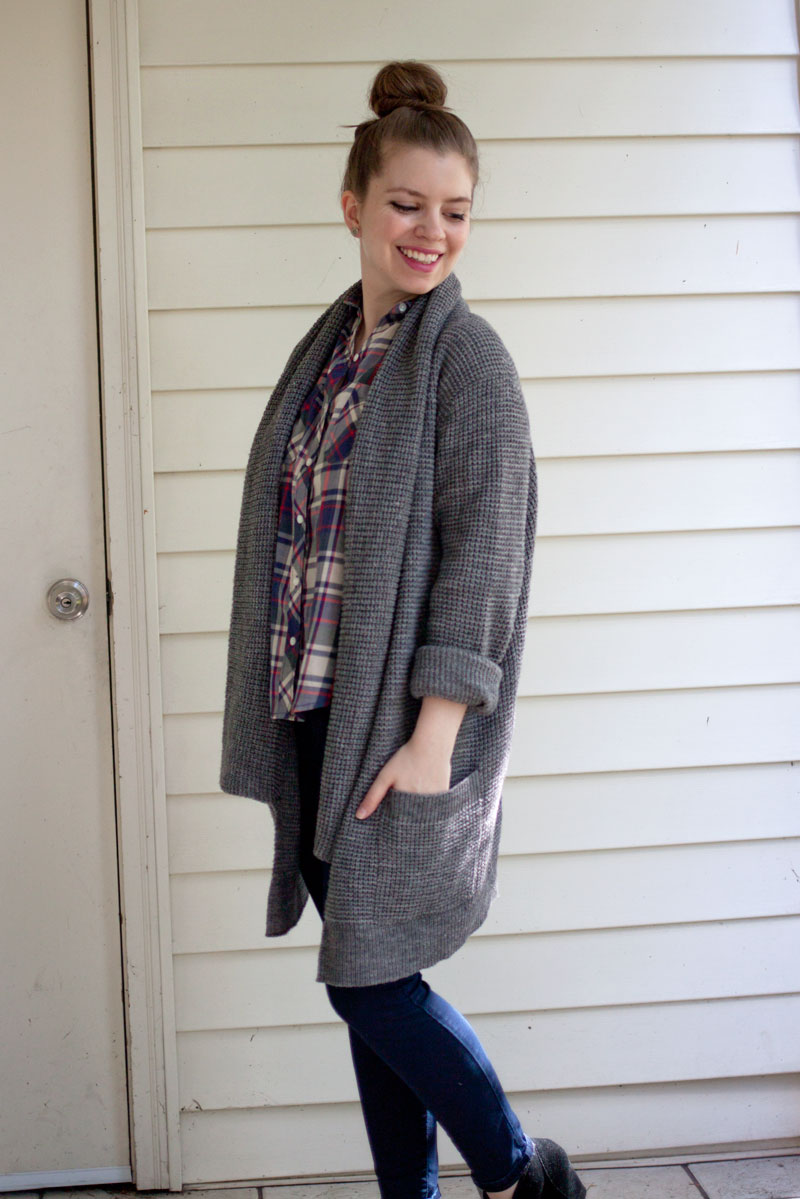 Oversized Sweater Coat, Plaid, and Skinny Jeans with Booties Outfit / hellorigby!