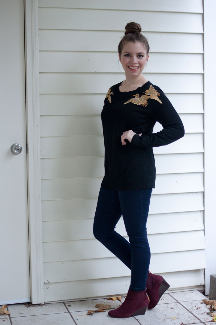 Altuzarra Crane Sweater, Legging Jeans, and Booties / hellorigby!