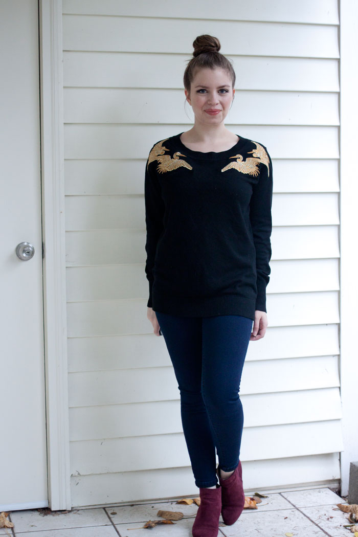 Altuzarra Target Crane Embroidered Sweater, Jeans, and Wedge Booties / hellorigby!