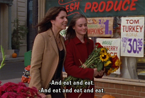 Gilmore Girls and eat and eat and eat Rory and Lorelai GIF / hellorigby!