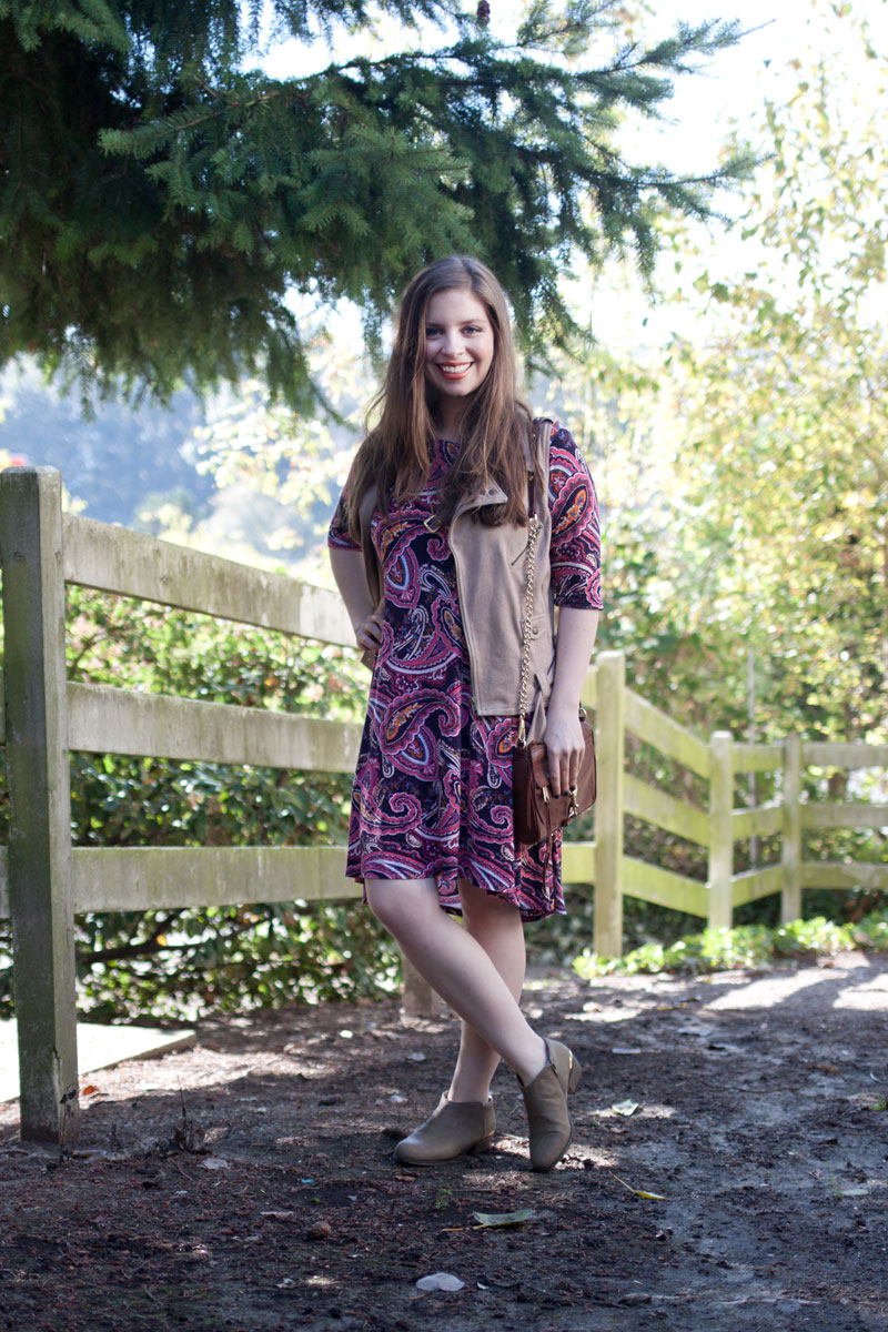 Golden Tote Merrick Paisley Swing Dress, Suede Vest, Booties OOTD / hellorigby!