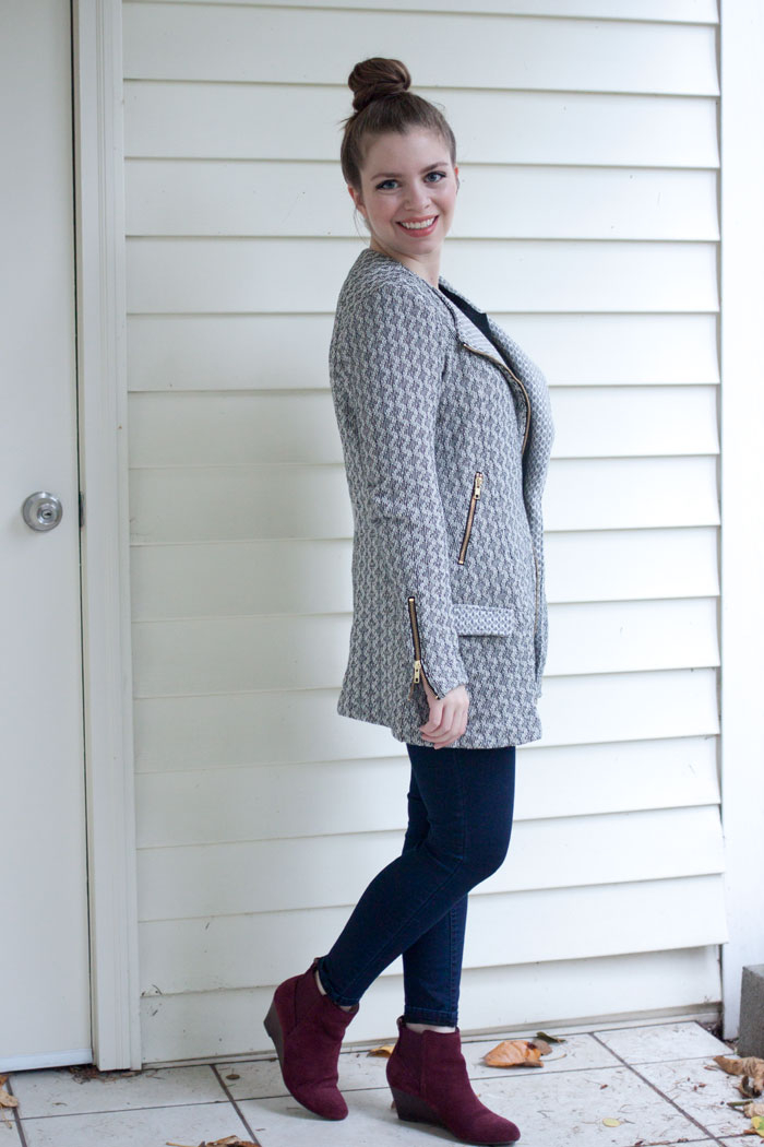 Lucky Brand Marnie Acitve Jacket, Skinny Jeans, Wedge Booties Outfit / hellorigby!