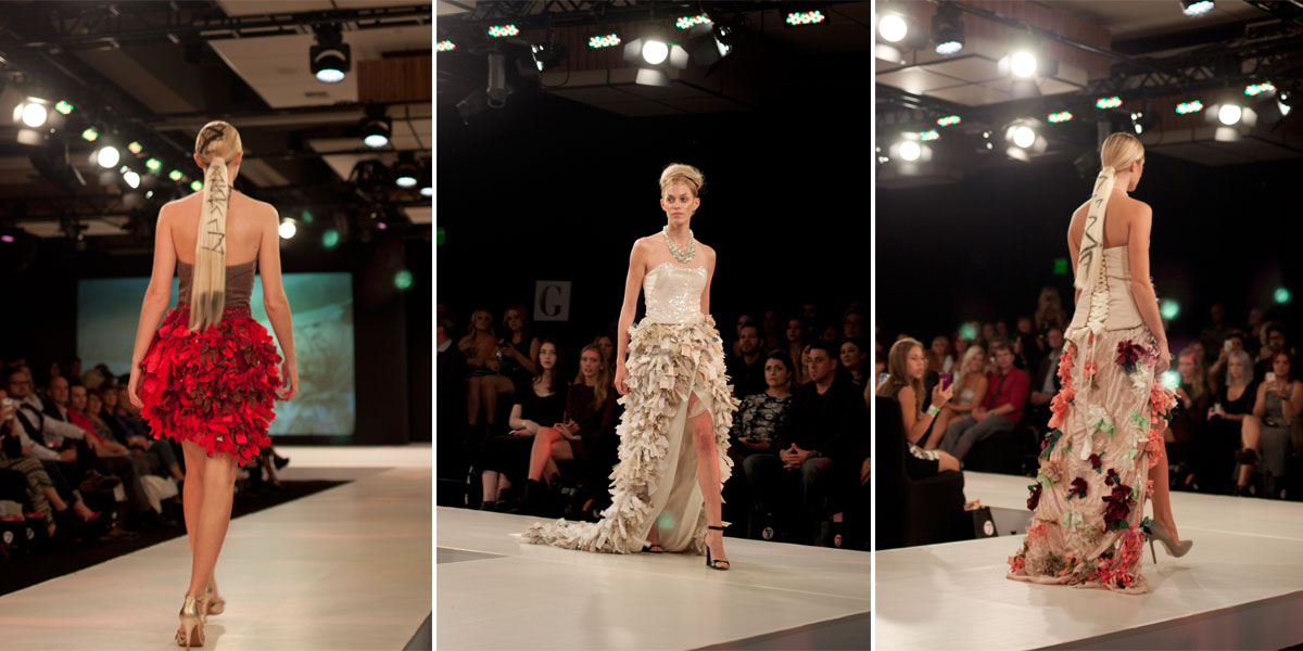 Seven Salon illuminessence Fashion Show Runway Floral and Ruffle Gowns / hellorigby!