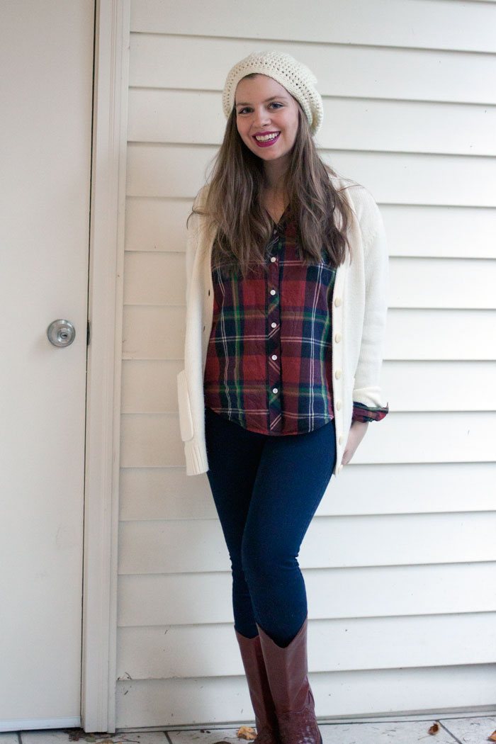 Plaid Button Up, Grandpa Cardigan, Slouchy Beanie, Boots Outfit / hellorigby!