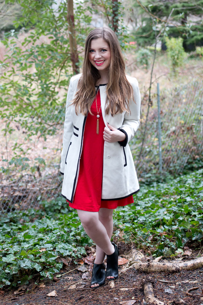 How To Wear Peep Toe Booties: To A Party / Red Party Dress, Black & White Coat, Tassel Necklace, Peep Toe Booties / hellorigby!