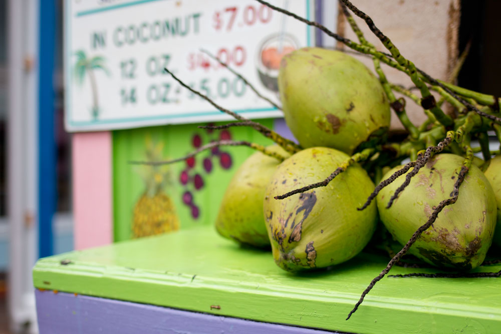 Bahamas Gully Wash Coconuts at Drink Stand at Port Lucaya Marketplace / hellorigby seattle lifestyle and fashion blog