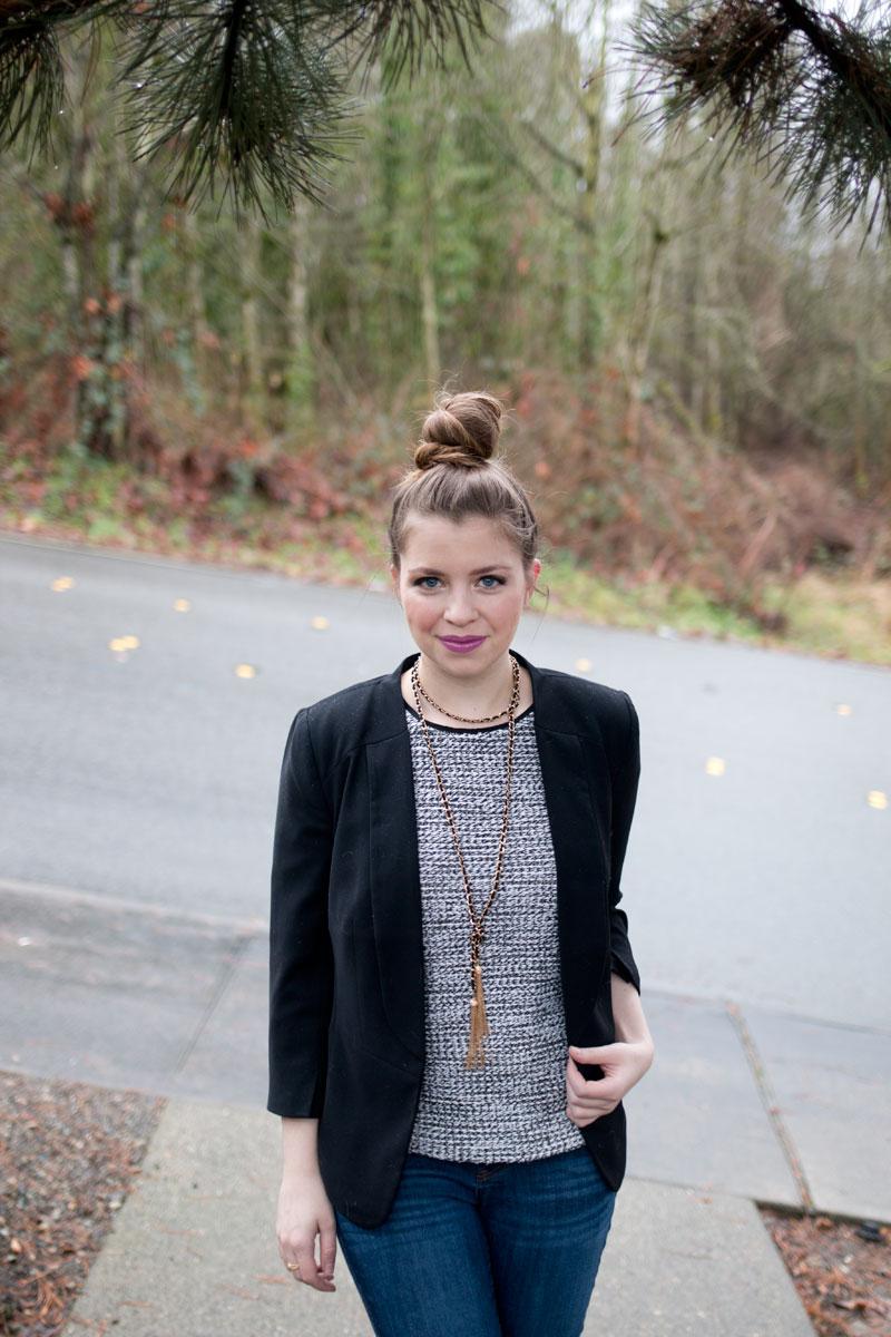 Tweed & Tassels / Business Casual Outfits / Tweed Top, Jeans, Black Blazer, Tassel Necklace / hellorigby!