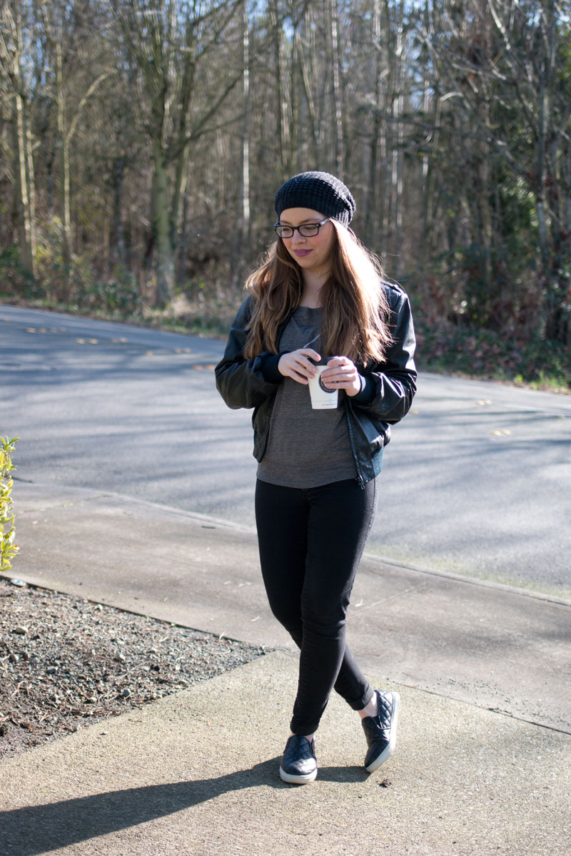 Casual Petite Outfit / Beanie, Quilted Slip Ons, Leather Jacket, and Skinny Jeans / hellorigby! seattle fashion and lifestyle blog