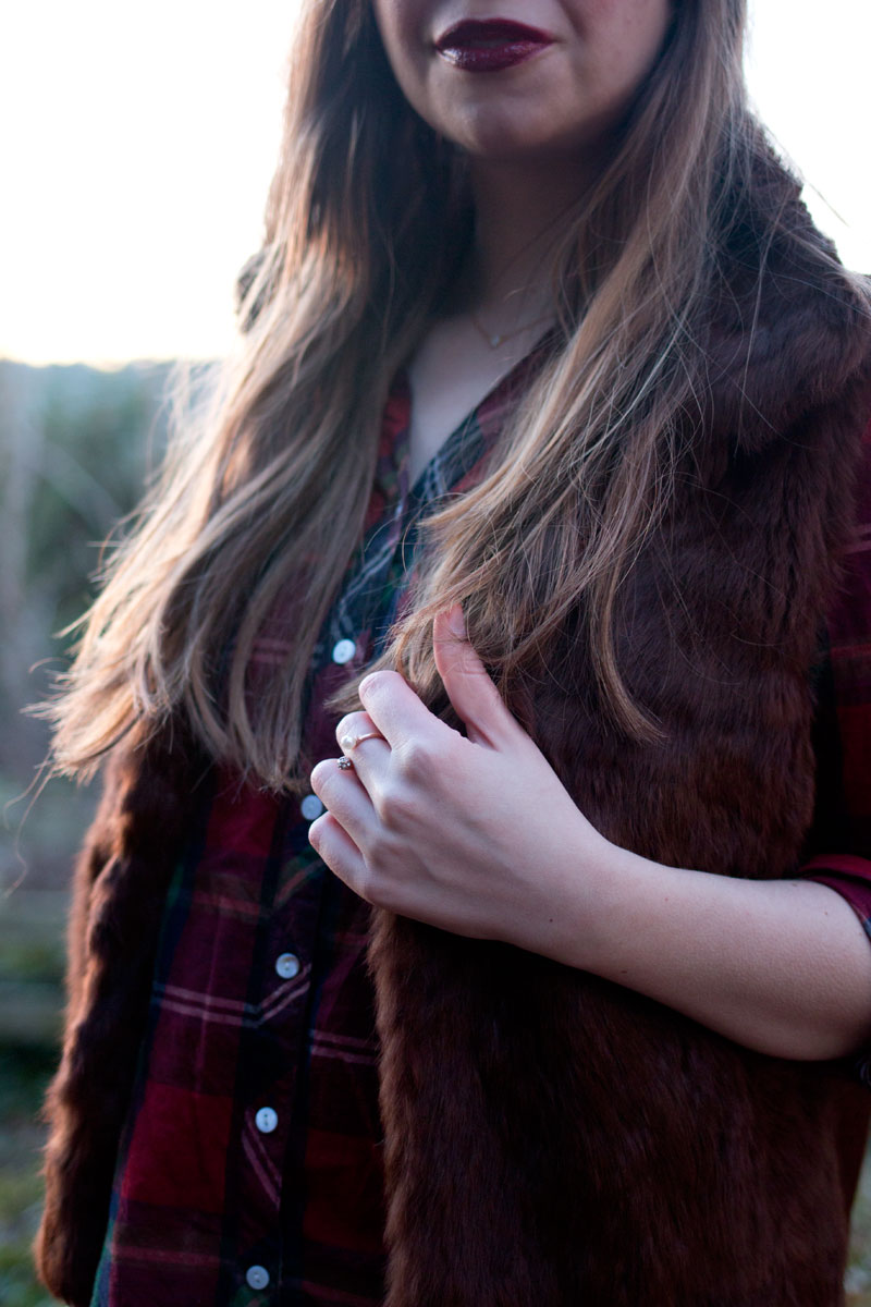 How to Wear a Fur Vest / Plaid Shirt and Fur Vest Outfit / hellorigby!