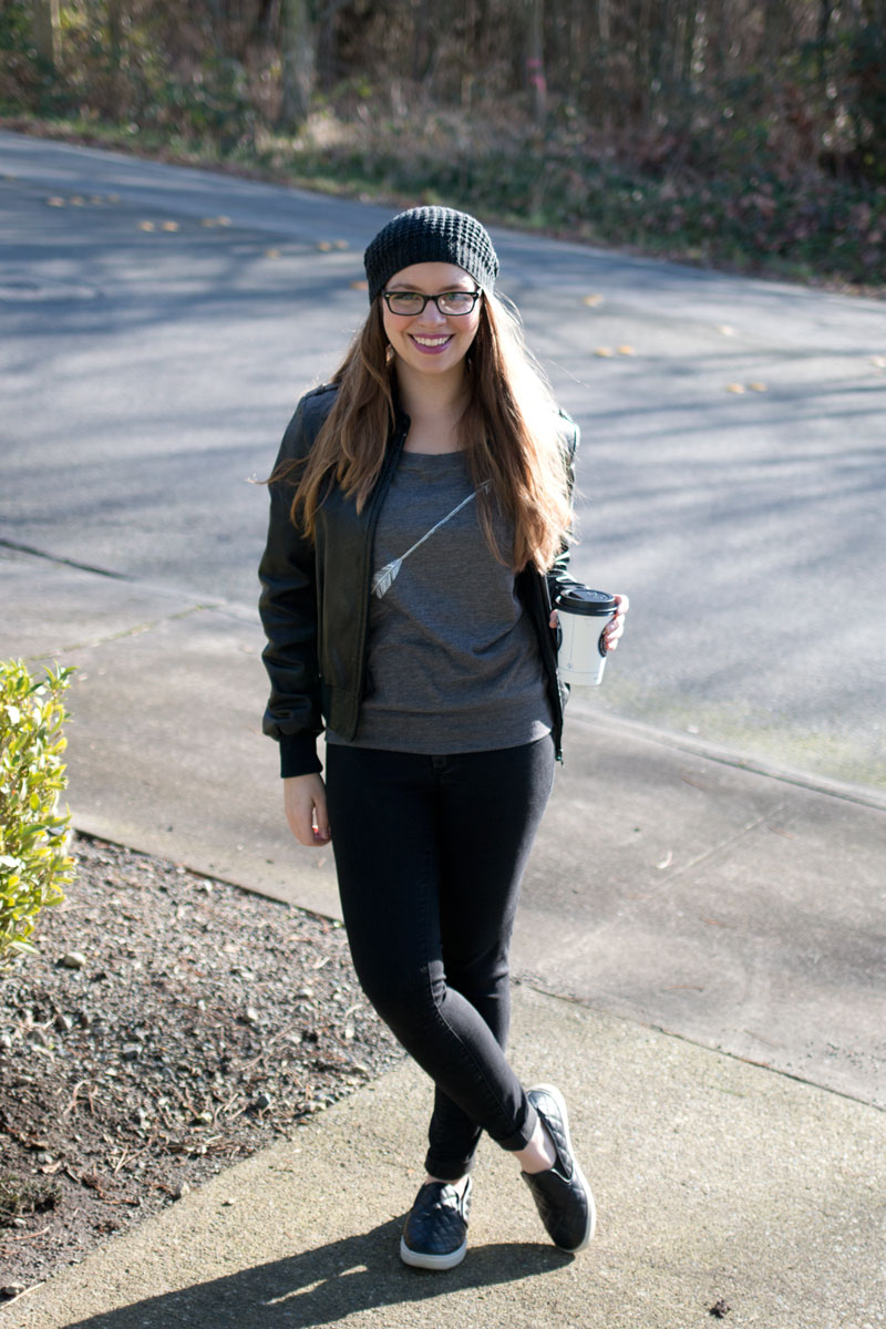 Wear Clothing Co. Arrow Dolman Top, Beanie, Leather Jacket Outfit / hellorigby! seattle fashion and lifestyle blog