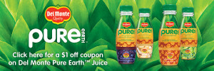 Del Monte Pure Earth Juice $1 off Coupon / hellorigby seattle fashion and lifestyle