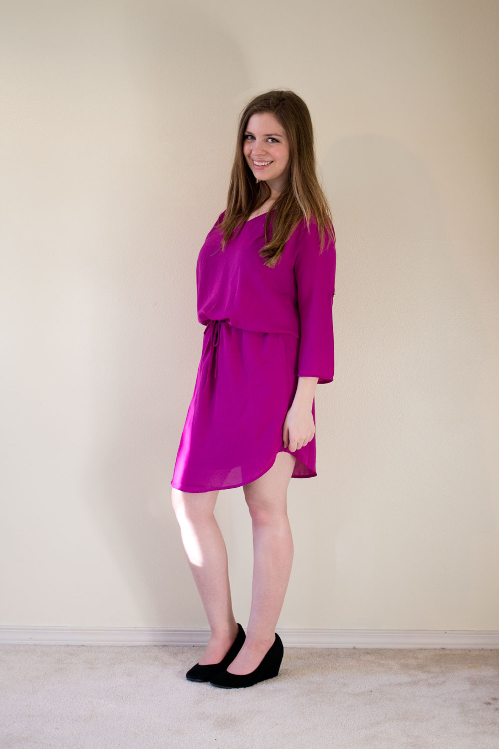 Golden Tote February 2015 Review - Renee C Dropwaisted Drawstring Dress in Pink/Fuchsia / hellorigby seattle fashion and lifestyle blog