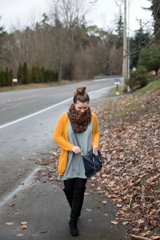 Mixing Pattenrs - Striped Swing Dress, Mustard Cardigan, Animal Print, and Rebecca Minkoff Bowery Satchel / hellorigby seattle fashion blog