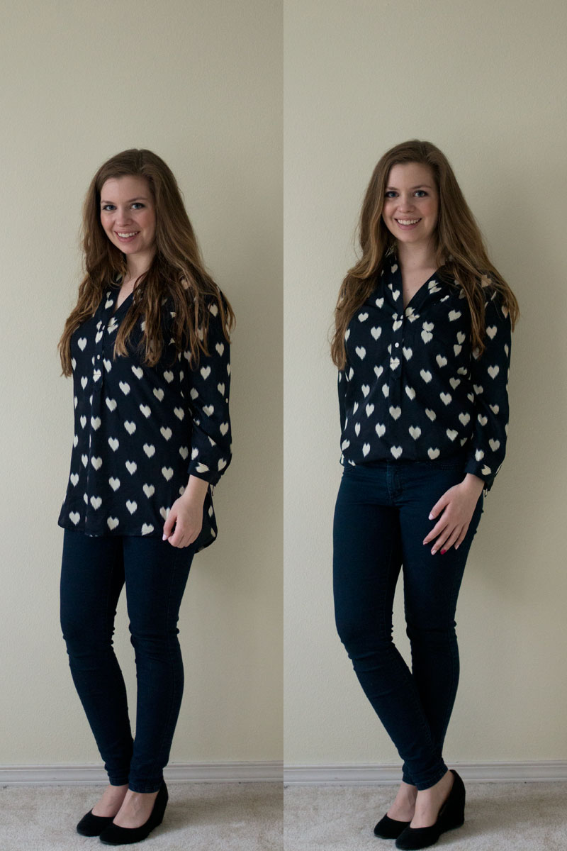 Stitch Fix February 2015 - Pixley Colibri Heart Print Tab Sleeve Blouse / hellorigby seattle fashion and lifestyle blog