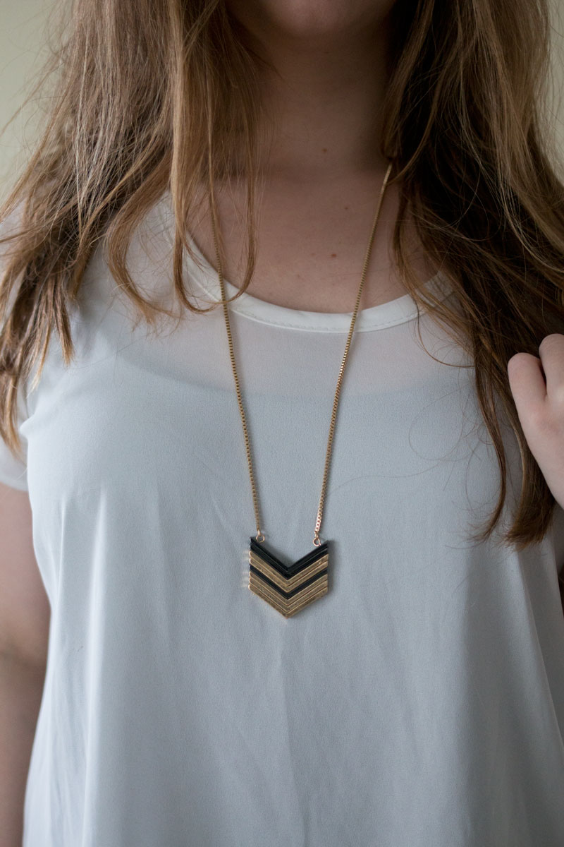 Stitch Fix February 2015 - Genevieve Stacked Chevron Pendant Necklace, Dark Grey / hellorigby seattle fashion and lifestyle blog