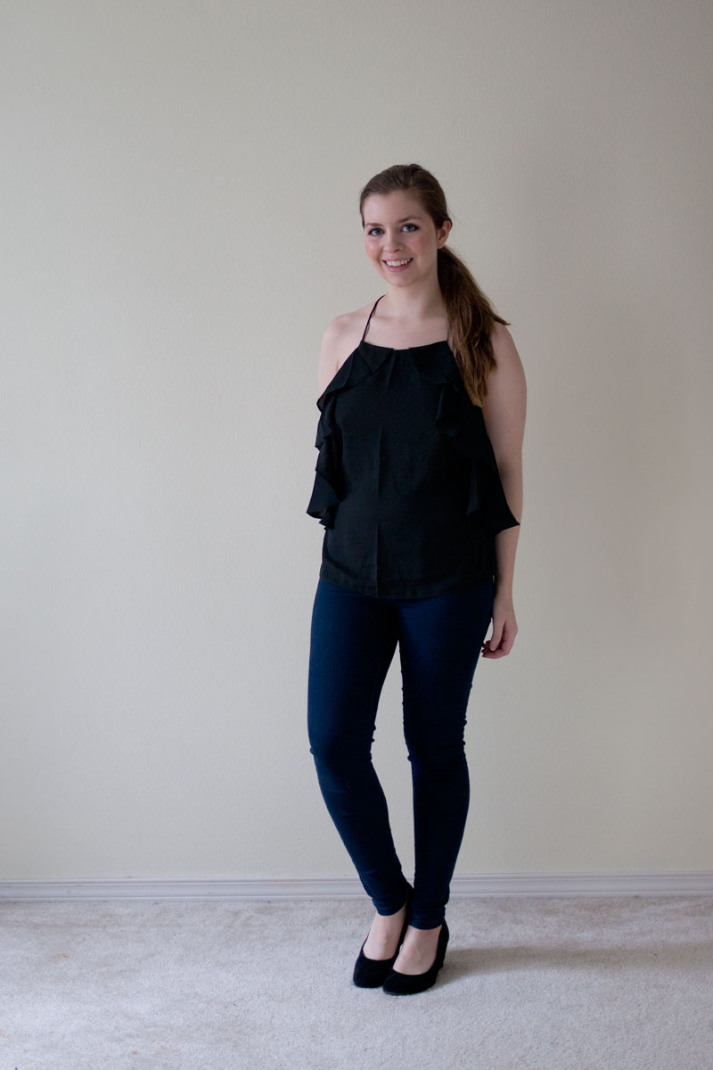 DailyLook Elite Box - Halter Ruffle Top in Black - hellorigby seattle fashion blog