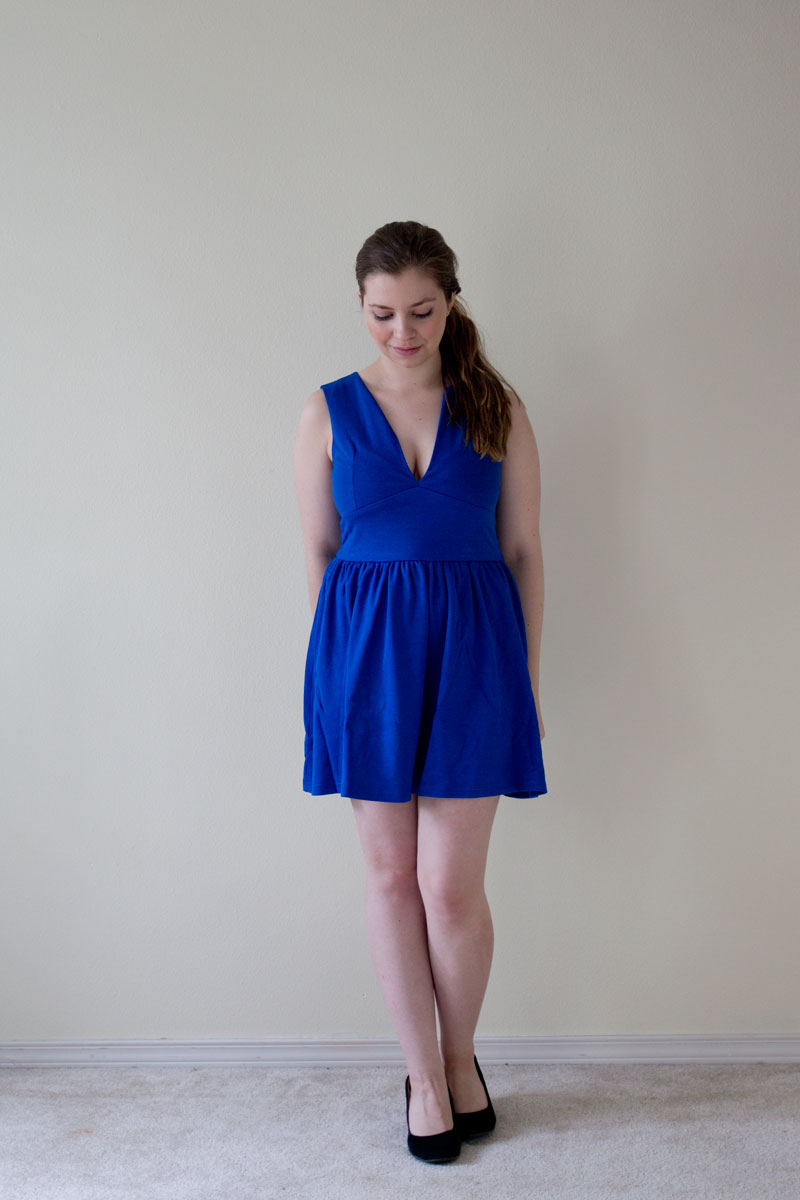 DailyLook Elite Box Plunging Fit and Flare Knit Dress in Royal Blue - hellorigby seattle fashion blog