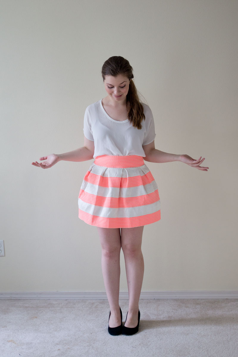 DailyLook Elite Box Striped Bandage Bell Skirt in Neon Coral - hellorigby seattle fashion blog