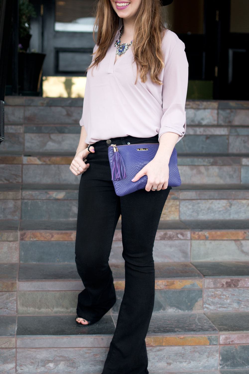 GiGi New York Purple Clutch, Flare Jeans, and Flowy Blouse Outfit / hellorigby seattle fashion blog