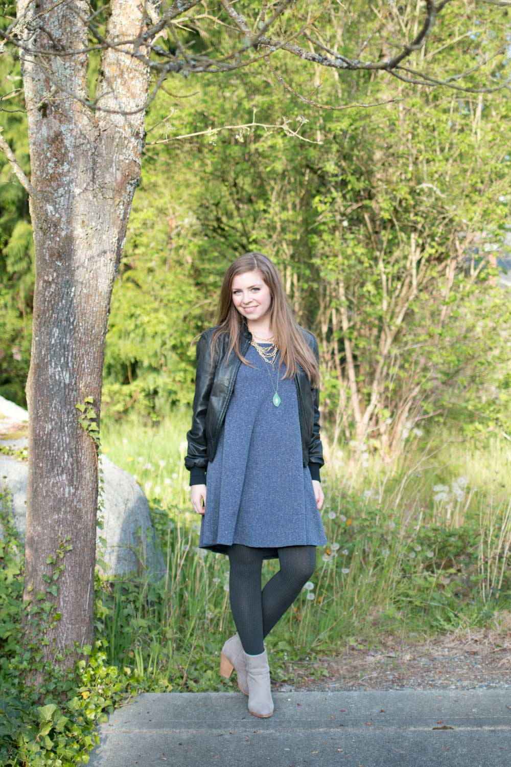 Blue Swing Dress and Patterend Tia Tights Outfit / hellorigby seattle fashion and style blog