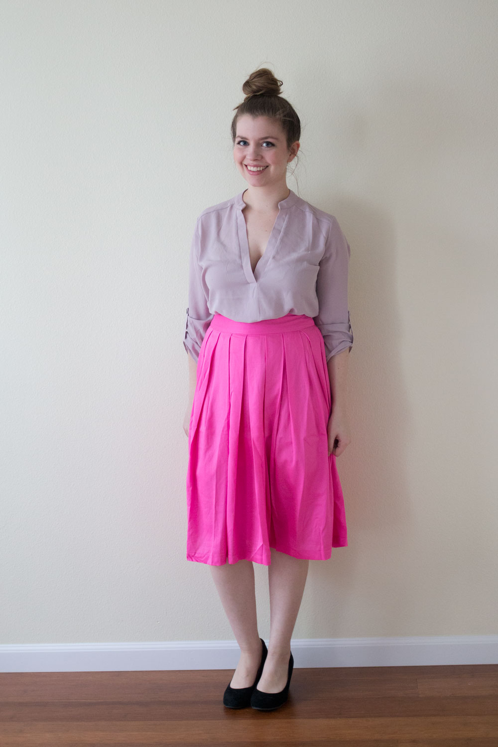 DailyLook A-Line Pleated Midi Skirt in Neon Pink / DailyLook Elite Box April 2015 Review and Styling / hellorigby seattle fashion blog
