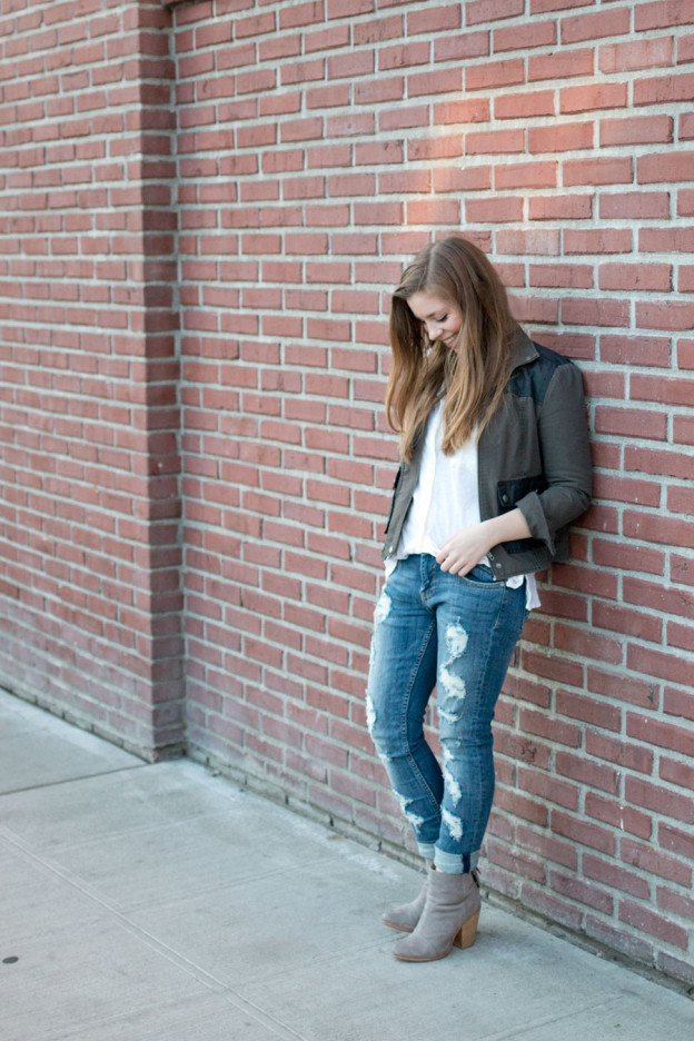 How to Wear Distressed Jeans: Deconstructed Vigoss Jeans, Military Jacket, and White Button Up Outfit / hellorigby seattle fashion blog