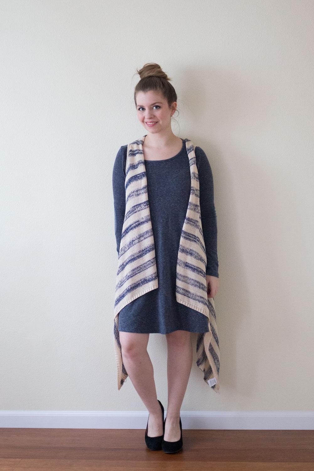 Golden Tote March 2015: Paper Crane Boho Stripe Knit Vest / hellorigby seattle fashion blog