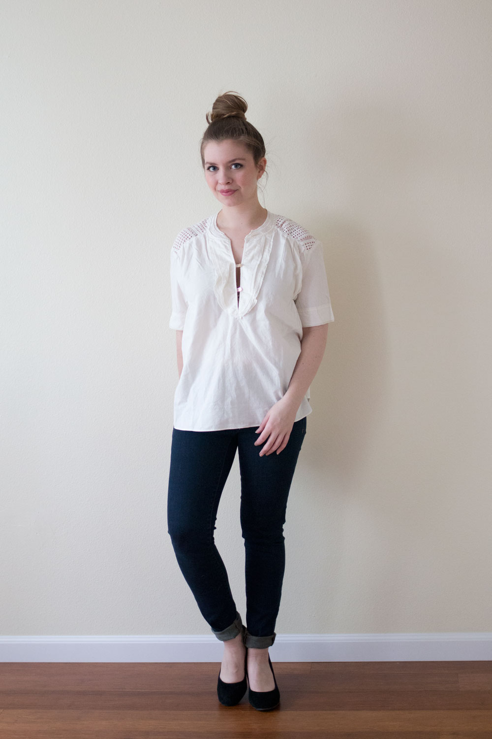 Golden Tote March 2015: Renee C Split Neck White Blouse / hellorigby seattle fashion blog