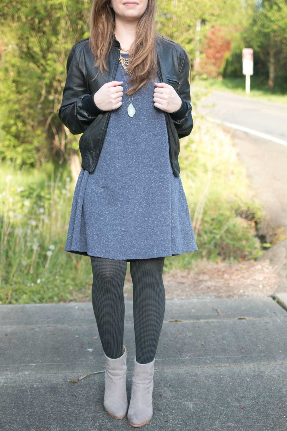 Patterned Tia Tights Outfit with Swing Dress & Rag + Bone Newbury Booties / hellorigby seattle fashion and style blog