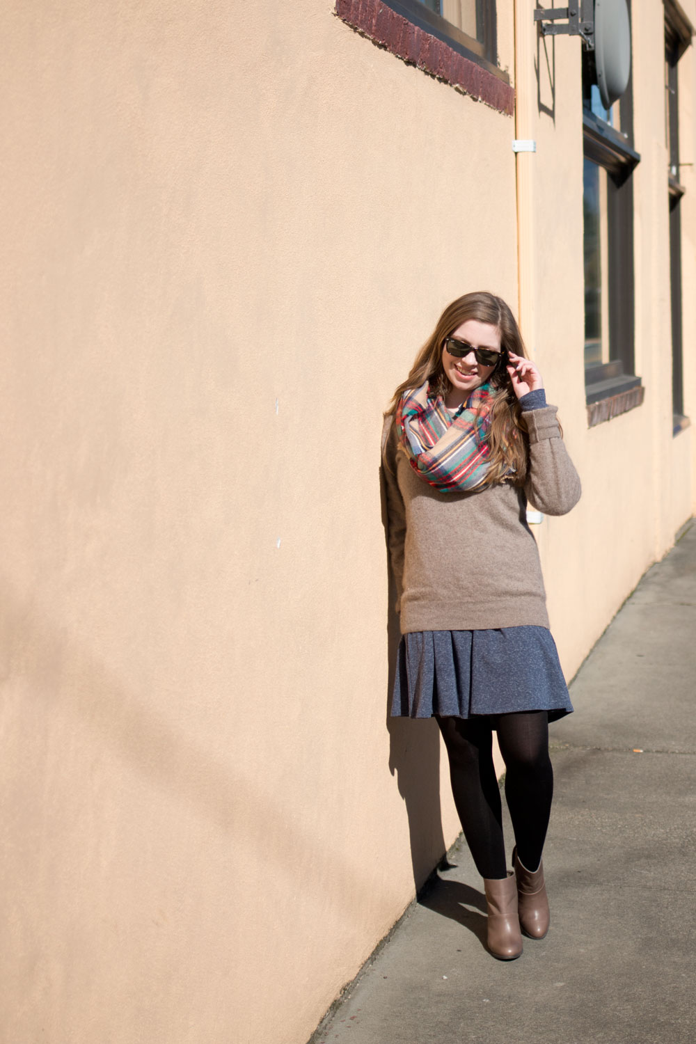 Puella Swing Dress, Cashmere Sweater, & Blanket Scarf Outfit / hellorigby seattle fashion blog