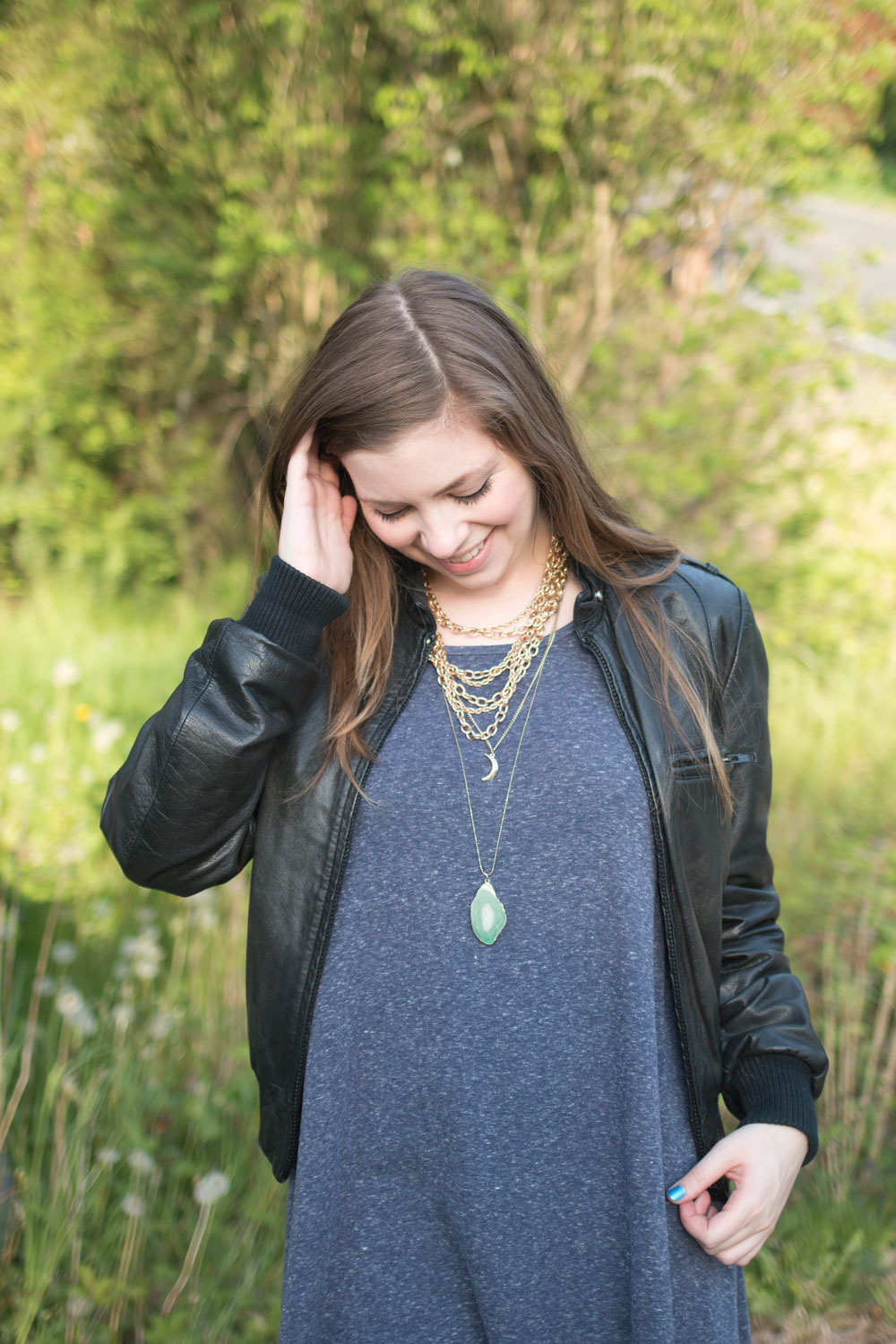 Puella Swing Dress with Leather Jacket and Layered Necklaces / hellorigby seattle fashion and style blog