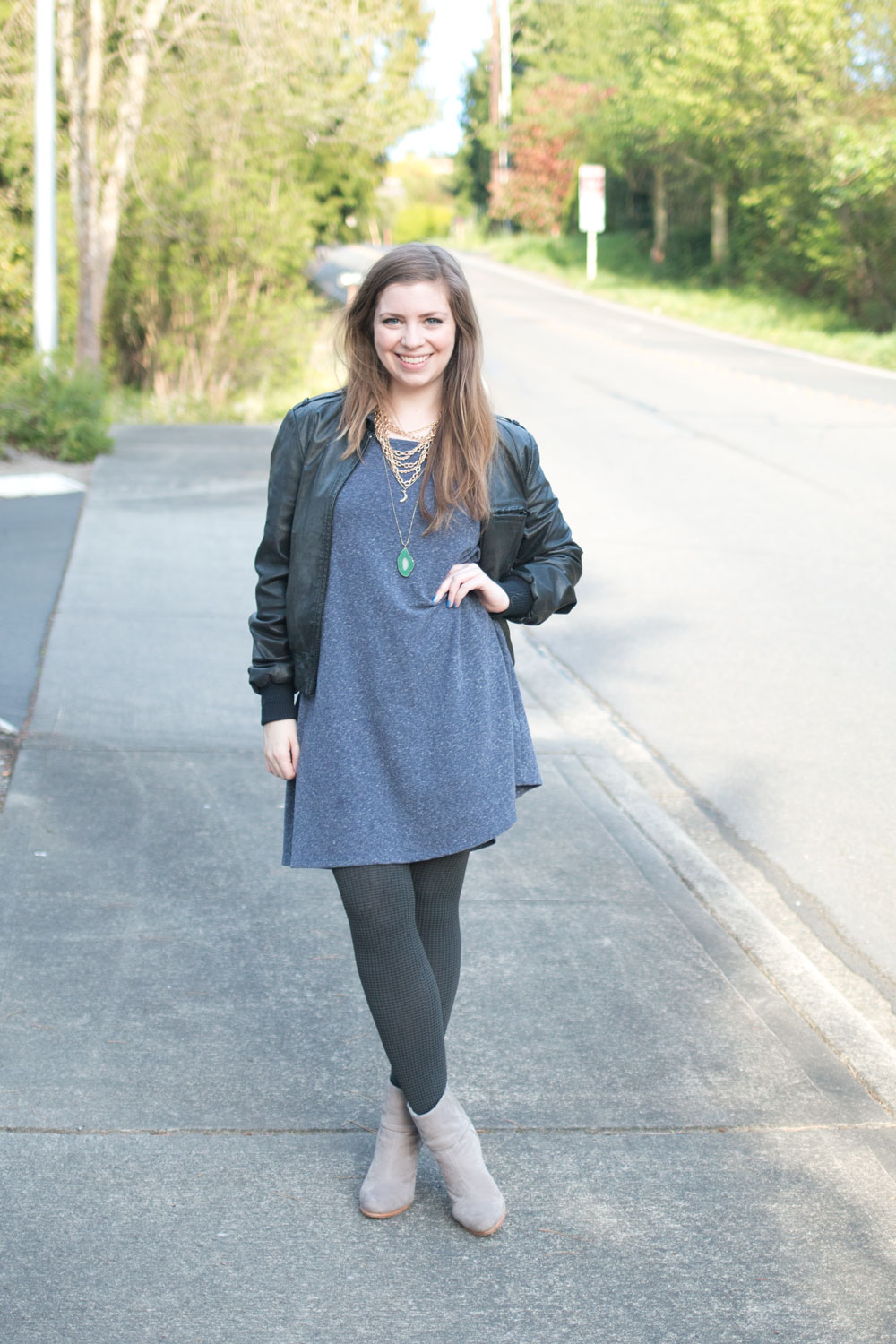 Swing Dress with Patterned Tia Tights and Leather Jacket / hellorigby seattle fashion and style blog