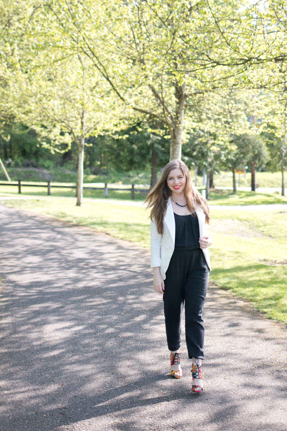 Black Jumpsuit, Floral Heels and White Blazer Outfit / hellorigby seattle fashion blog