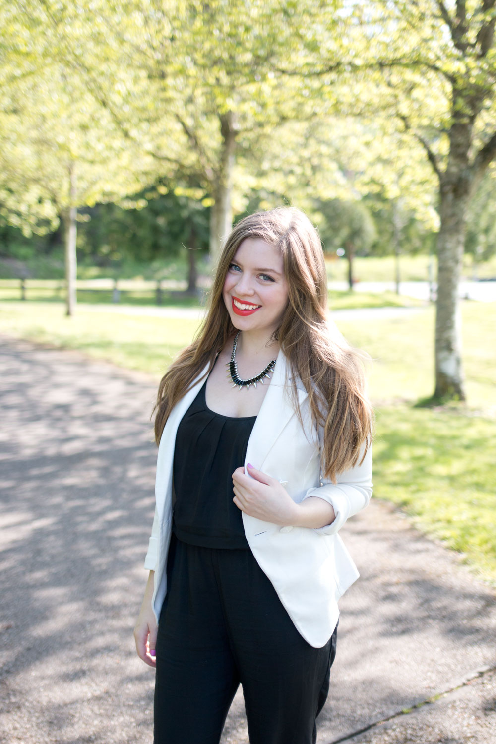 Black Jumpsuit and White Blazer Outfit / hellorigby seattle fashion and style blog