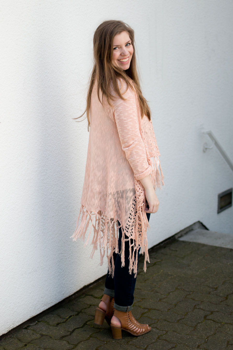 Fringe Cardigan on Petite Outfit / hellorigby seattle fashion blog