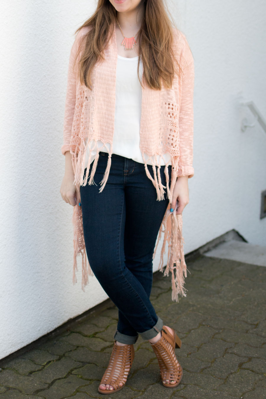 Fringe Cardigan, Skinny Jeans, and Caged Heels Outfit / hellorigby seattle fashion blog