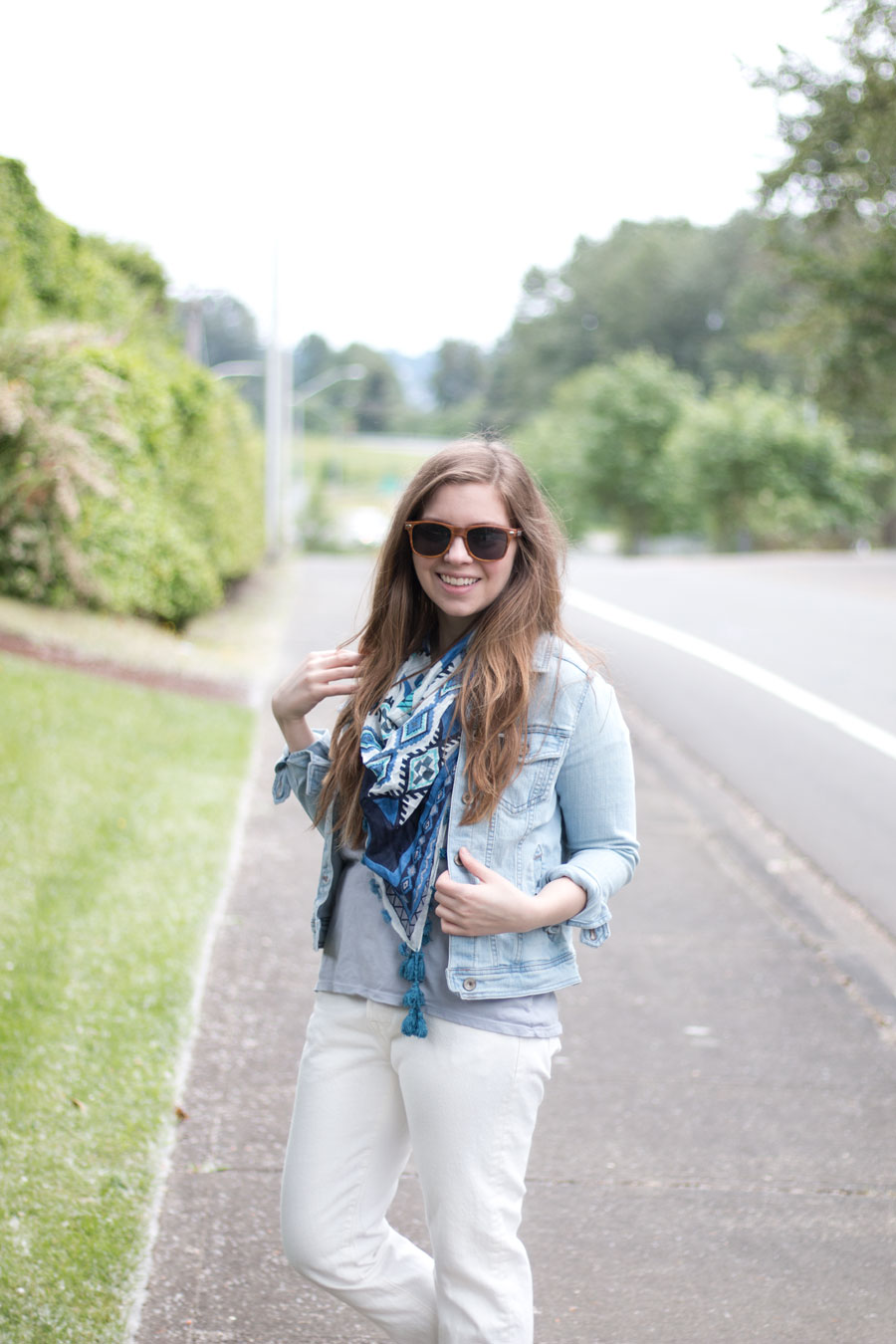 Jean Jacket, Pom Pom Scarf, & White Jeans Outfit / hellorigby seattle fashion blog