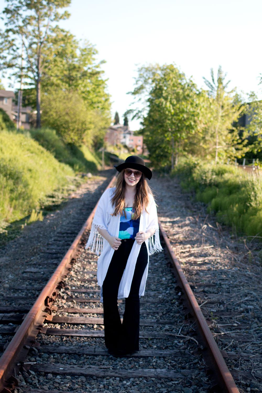 Lime Ricki Swimwear, Lilly Pulitzer Kimono, & Flare Leg Jeans Outfit / hellorigby seattle fashion blog