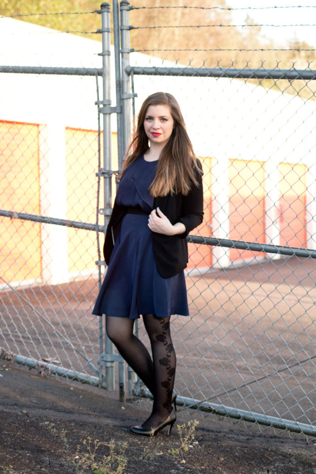 Phillip Lim for Target Navy Outfit with Gardenia Black Tia Tights / hellorigby seattle fashion blog